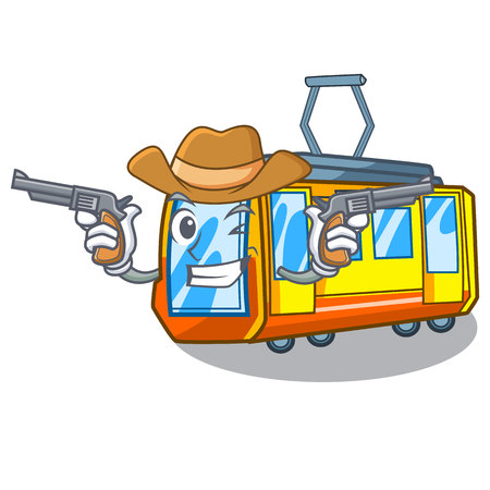 Cowboy electric train in the character shape vector illustration