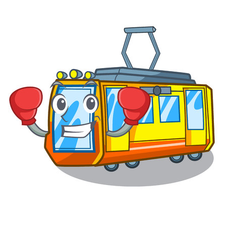 Boxing electric train in the character shape vector illustration