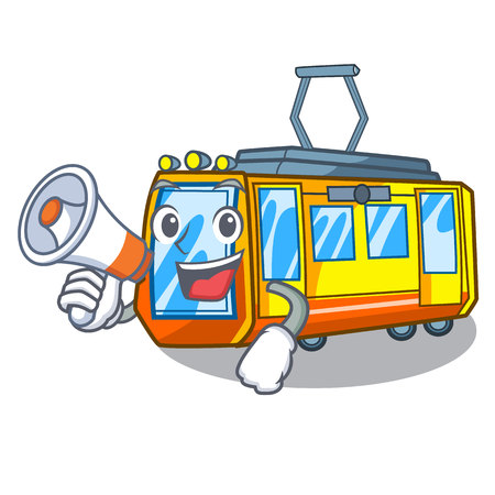 With megaphone electric train in the character shape vector illustration