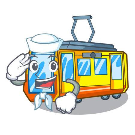Sailor electric train in the character shape vector illustration
