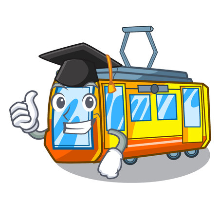 Graduation electric train isolated with the cartoon vector illustration