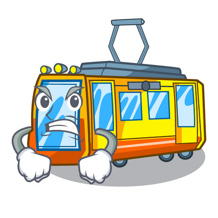 Angry electric train toys in shape mascot vector illustration