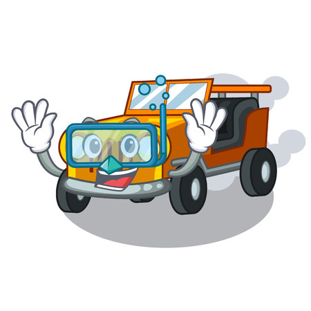 Diving pickup car in the shape mascot vector illustration