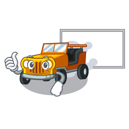 Thumbs up with board pickup car isolated with the cartoon vector illustration