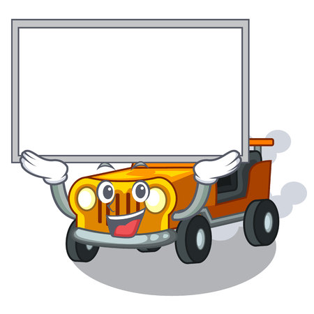 Up board pickup car isolated with the cartoon vector illustration