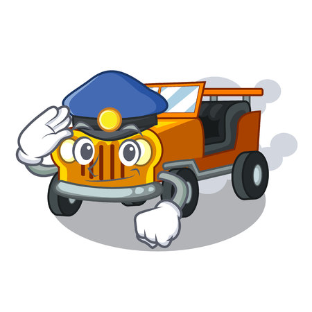 Police pickup car isolated with the cartoon vector illustration