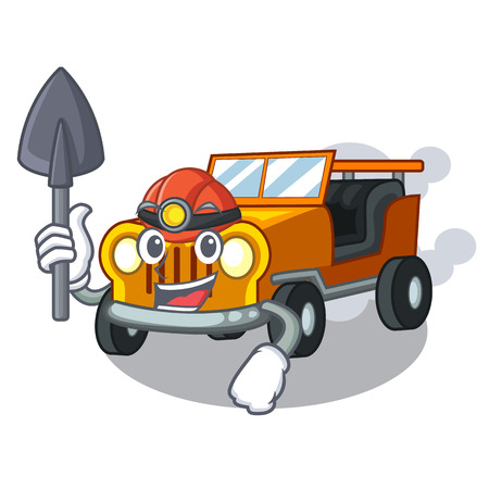 Miner pickup car toys in shape character vector illustration