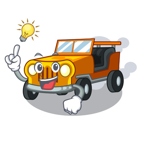 Have an idea pickup cartoon car in front clemency vector illustration