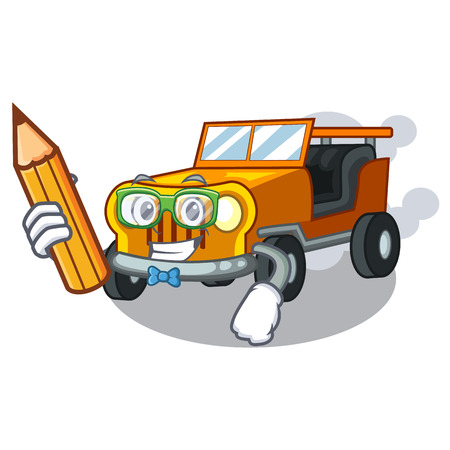 Student pickup car in the shape mascot vector illustratin