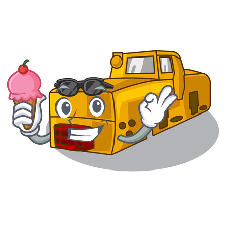 With ice cream toy locomotive mine in shape characters vector illustration