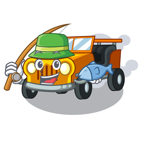Fishing pickup car toys in shape character vector illustration 일러스트