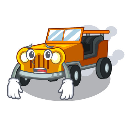 Afraid pickup car toys in shape character vector illustration