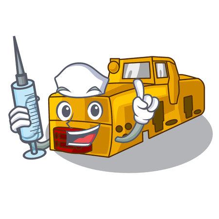 Nurse toy locomotive mine in shape characters vector illustration