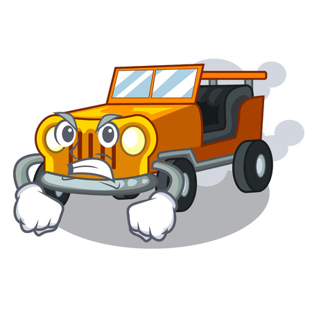 Angry pickup car toys in shape character vector illustration