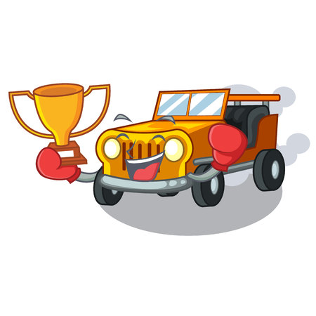 Boxing winner pickup cartoon car in front clemency vector illustration Çizim