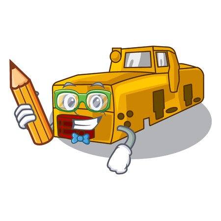 Student toy locomotive mine in shape characters vector illustration