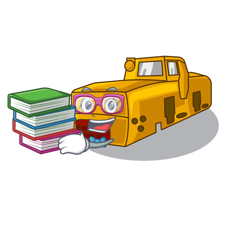 Student with book locomotive mine cartoon toy above table vector illustration 일러스트