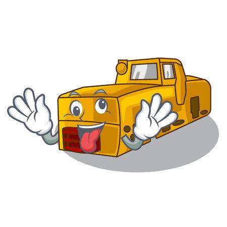 Crazy locomotive mine cartoon toy above table vector illustration