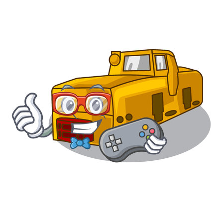Gamer locomotive mine isolated in the mascot vector illustration