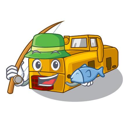 Fishing locomotive mine isolated in the mascot vector illustration