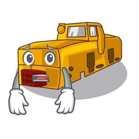 Afraid locomotive mine isolated in the mascot vector illustration