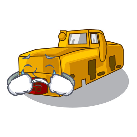 Crying locomotive mine isolated in the mascot vector illustration 일러스트