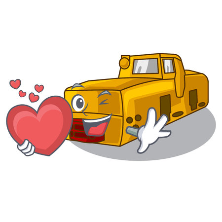 With heart locomotive mine isolated in the mascot vector illustration Illustration