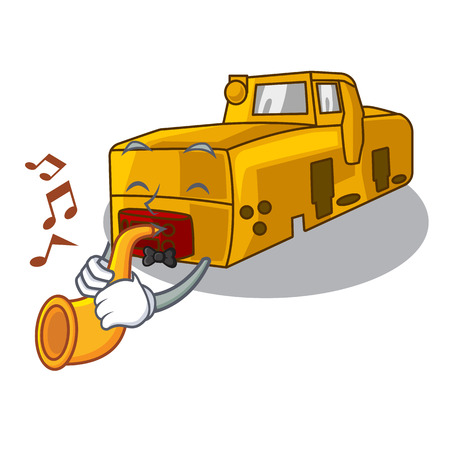 With trumpet locomotive mine isolated in the mascot vector illustration