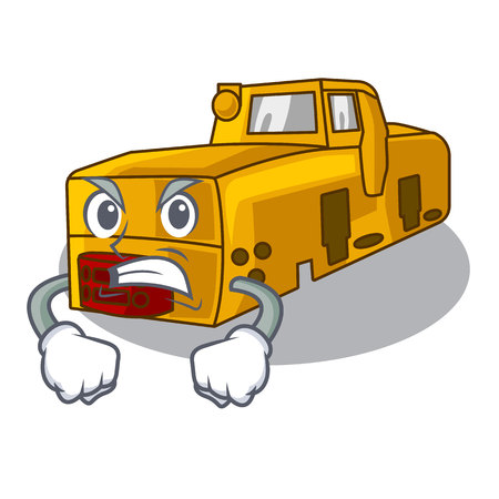 Angry locomotive mine isolated in the mascot vector illustration