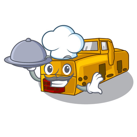 Chef with food locomotive mine isolated in the mascot vector illustration 일러스트