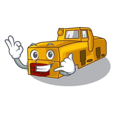 Call me locomotive mine cartoon toy above table vector illustration
