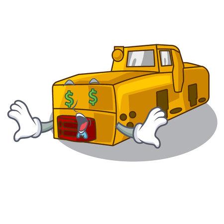 Money eye locomotive mine cartoon toy above table vector illustration