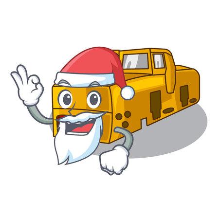 Santa locomotive mine cartoon toy above table vector illustration