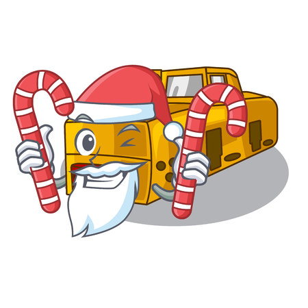 Santa with candy locomotive mine cartoon toy above table vector illustration