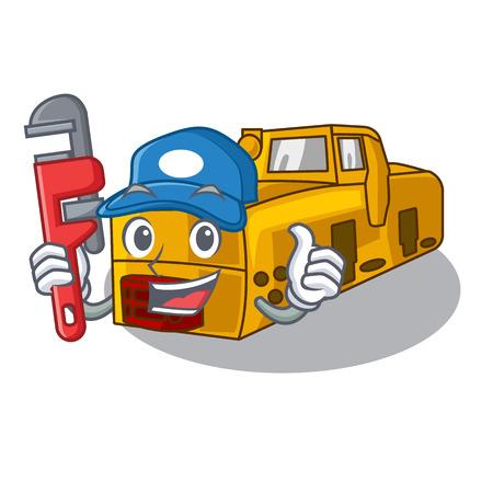 Plumber locomotive mine cartoon toy above table vector illustration