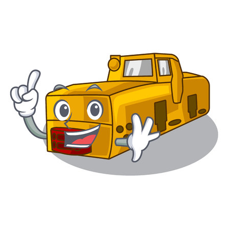 Finger locomotive mine cartoon toy above table vector illustration