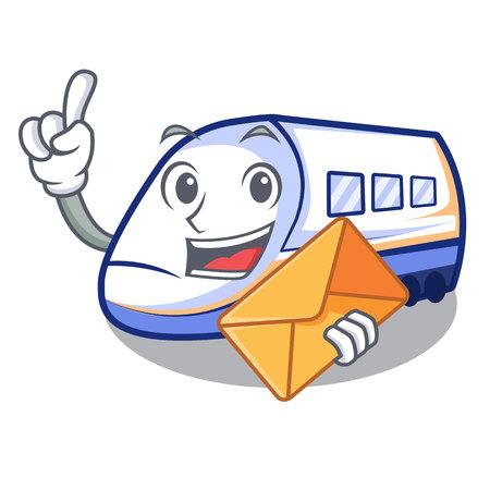 With envelope shinkansen train transportation in shape characters vector illustration