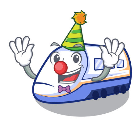 Clown miniature shinkansen train in cartoon shape vector illustration