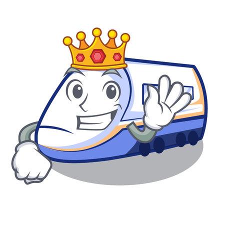King miniature shinkansen train in cartoon shape vector illustration Illustration