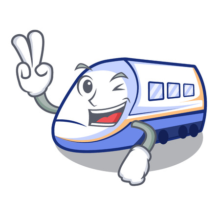 Two finger shinkansen train transportation in shape characters vector illustration