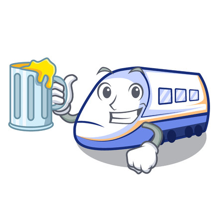 With juice shinkansen train isolated in the cartoon vector illustration