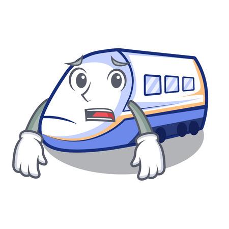 Afraid shinkansen train isolated in the cartoon vector illustration Illustration