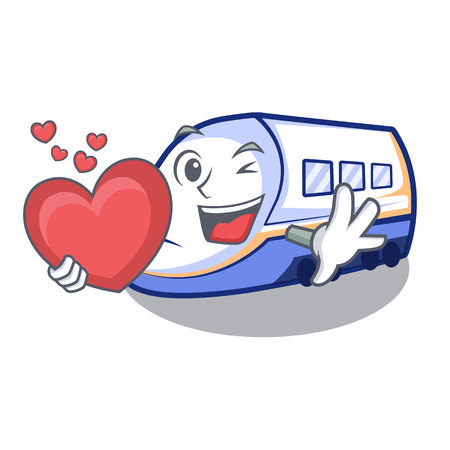 With heart shinkansen train isolated in the cartoon vector illustration
