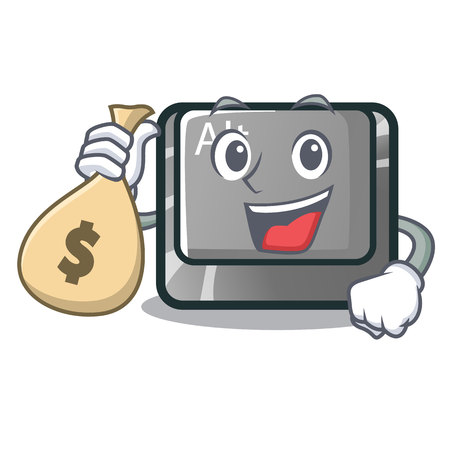With money bag alt button in the cartoon shape vector illustration Illustration