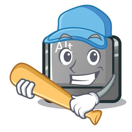 Playing baseball alt button in the cartoon shape vector illustration Stock Vector - 124091692