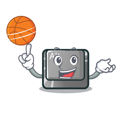 With basketball alt button in the cartoon shape vector illustration Illustration