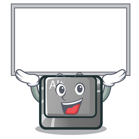 Up board alt button in the cartoon shape vector illustration