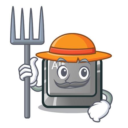 Farmer alt button in the cartoon shape vector illustration Stock Vector - 124091699