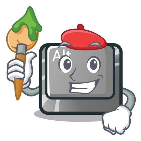 Artist alt button in the cartoon shape vector illustration