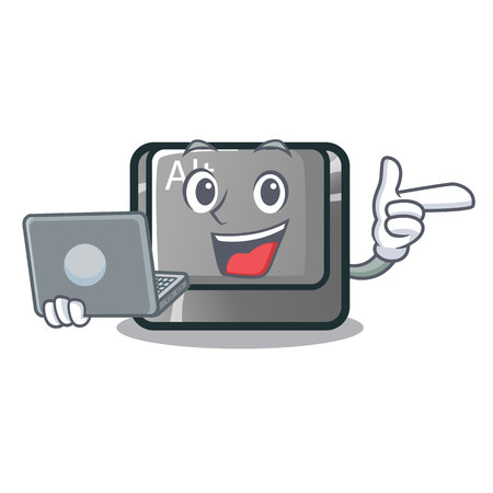 With laptop alt button in the cartoon shape vector illustration Illustration
